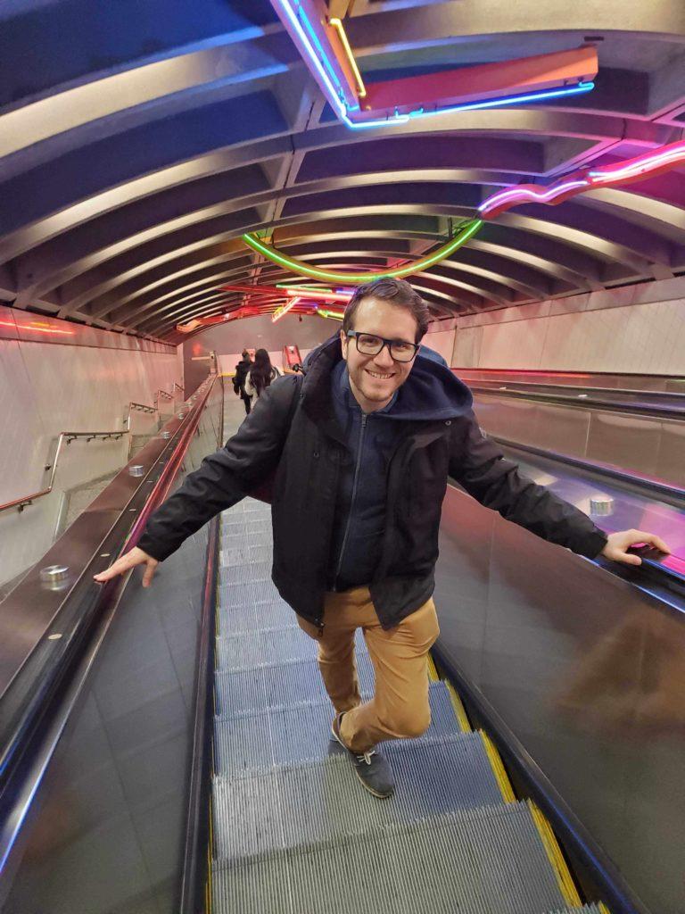 Florian Reifschneider standing in a New York Subway